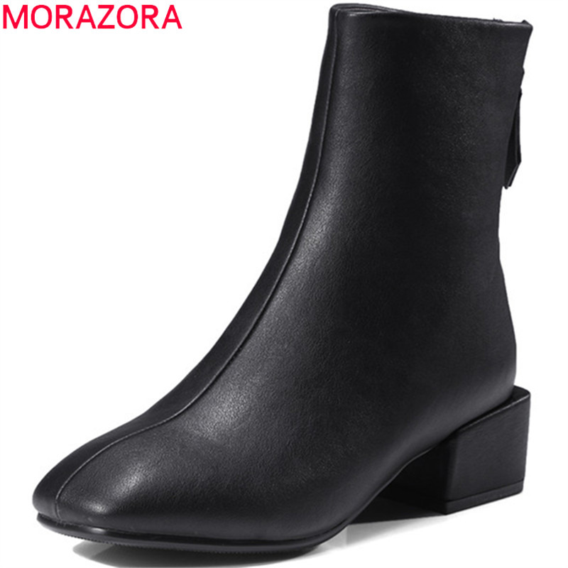 MORAZORA Microfiber square toe med heels shoes woman ankle boots for women in spring autumn fashion boots female size 34-42 enmayla retro winter high heels ankle boots women nubuck charms shoes woman sexy red boots med heels square toe boots size 34 43