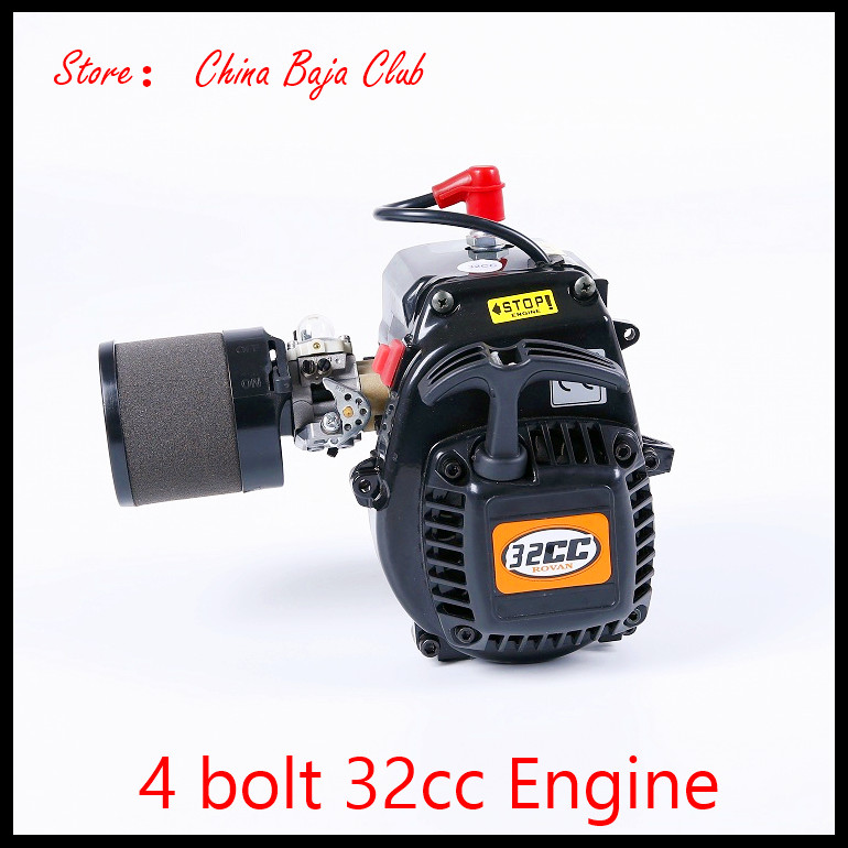 4 bolt 32cc Engine and Walbro 813 NGK Spark plug Metal Clutch Fits HPI Baja 5B,LOSI 5iveT, Redcat, FG 27 5cc 2t 4 bolt gasoline engine walbro 668 carburetor ngk spark plug 7000 light clutch fits hpi baja 5b losi 5ive t redcat