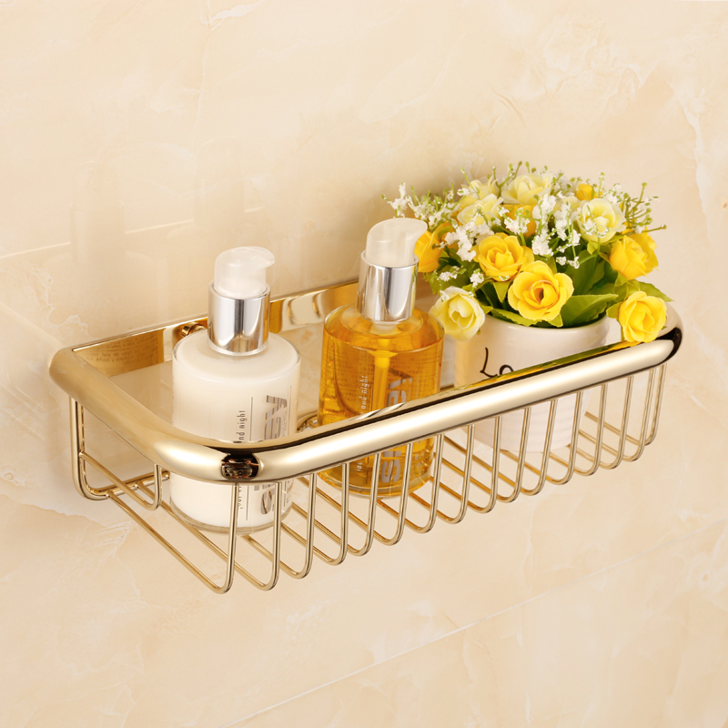 New Luxury Wall Mounted Golden Polished Square Shower Basket Shelf for Cosmetic Orgnizer