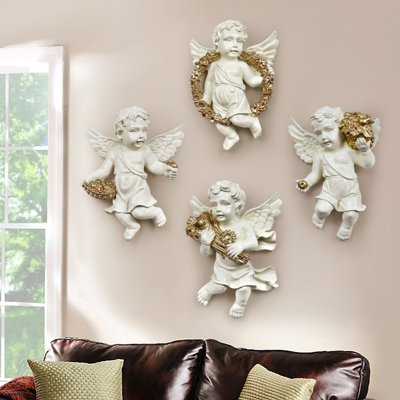 Cute Cupid Angel Statue 3D Wall Background Mural Sculpture Colophony Crafts Home Wall Hanging Decorations 4Pcs/set R146