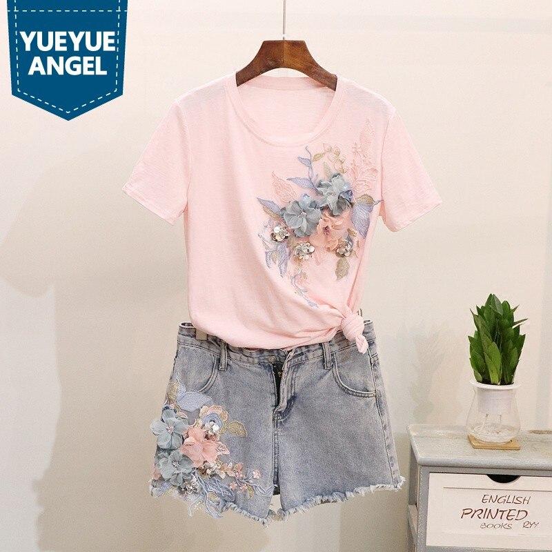 19c0cdf3b4814 Gland Jeans shirts 2018 Femme Deux D'été Paillettes Nouvelle pink Court  Femmes Zipper Tops Shorts Pièces T ...
