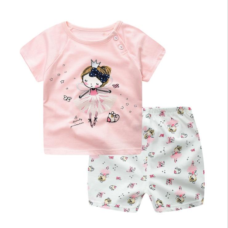 2019 летняя одежда для маленьких принцесс, Одежда для новорожденных, розовые костюмы для детей от 6 мес. до 24 мес.
