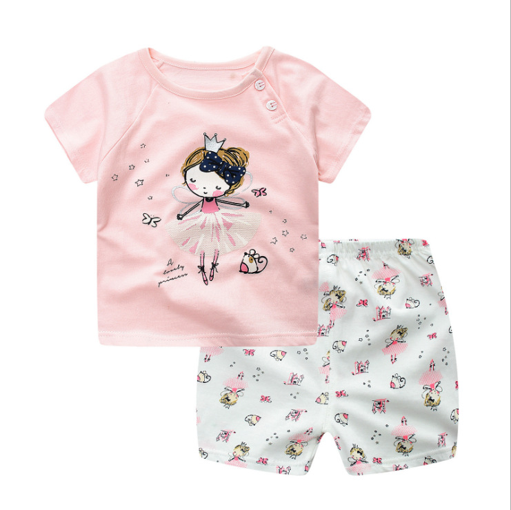 2019 <font><b>Summer</b></font> Princess <font><b>Baby</b></font> <font><b>Girl</b></font> <font><b>Clothes</b></font>, <font><b>Newborn</b></font> Clothing Pink Tshit Outfits For Kids 6 M -24 Months image