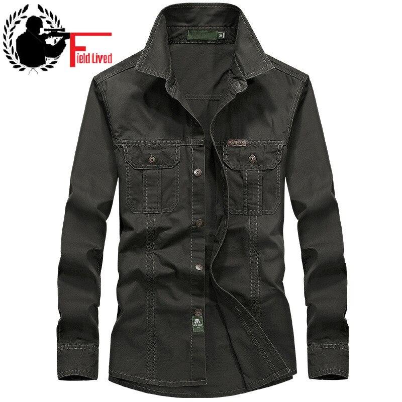 Military Style Mens Shirts Uniform 3xl 4XL 5XL 6XL Plus Size Big Cotton British Long Sleeve 2017 Male Cargo Shirts Us Army Green