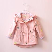 Everweekend Girls Floral Embroidered Autumn Winter Jackets Trench Coats Hoodie Outwears Pink and Blue Color Children Clothes