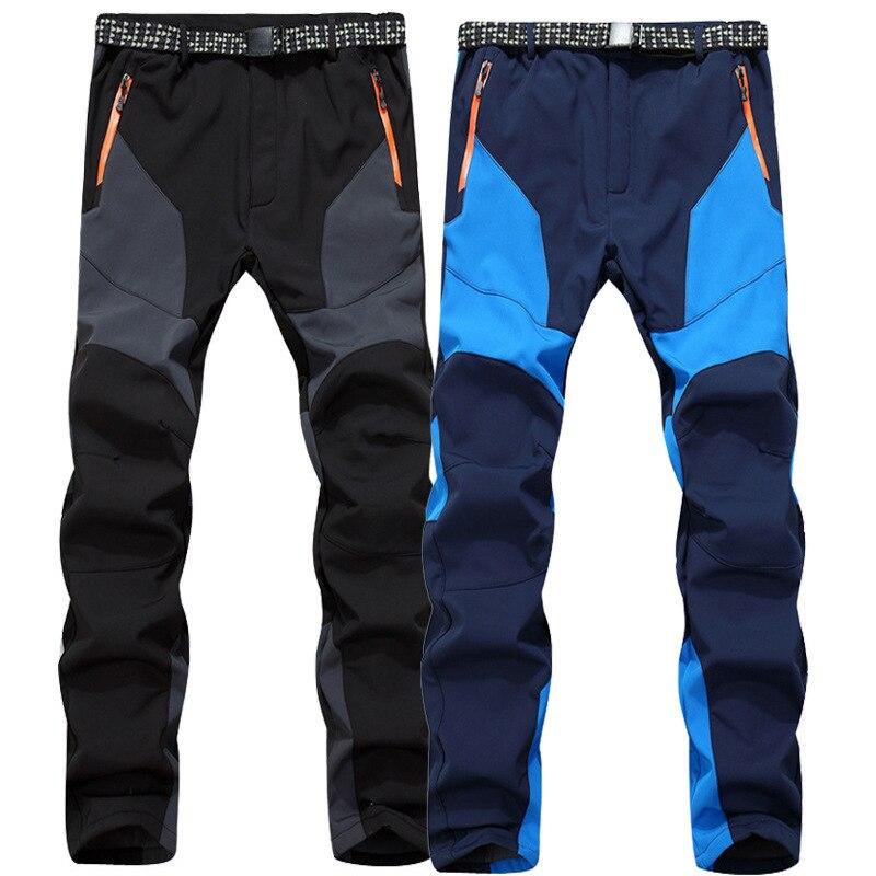 ФОТО Outdoor Men Softshell Pants Warm Waterproof Breathable Pantalon Trekking Camping Hiking Mountaineering Trousers Riding Ski