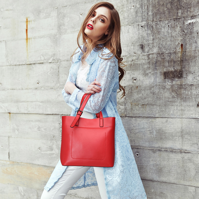 New 2017 ESUFEIR Brand Genuine Leather Casual Tote Fashion Women Handbag Soft Leather Shoulder Bag Famous Brand Designer Handbag