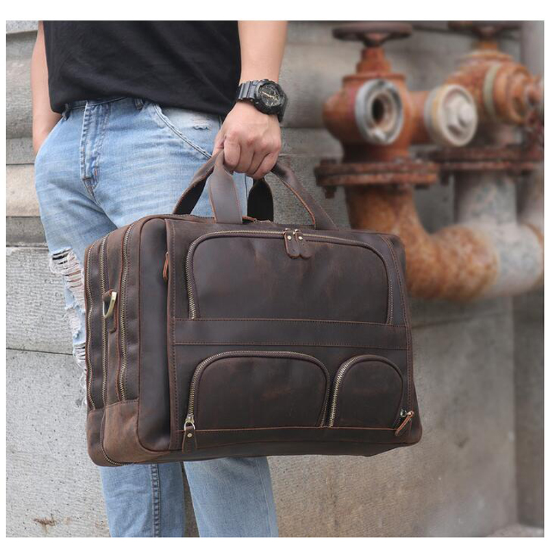 купить ANAPH Vintage Crazy Horse Big Briefcases For Men Business Genuine Leather Travel Bags With Multi-pockets 17 Inch Laptop Bag по цене 9179.66 рублей