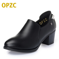 OPZC 2018 New Women Shoes Genuine Leather Shoes Thick Heel Zipper Boots Fashion Style Shoes Women