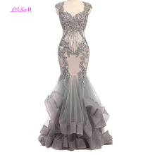 High Quality Silver Mermaid Evening Dress Vintage Beads Prom Dresses Long Elegant Formal Party Gowns Robe De Soiree