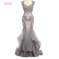 High Quality Silver Mermaid Evening Dress Vintage Beads Mermaid Prom Dresses Long Elegant Formal Party Gowns Robe De Soiree