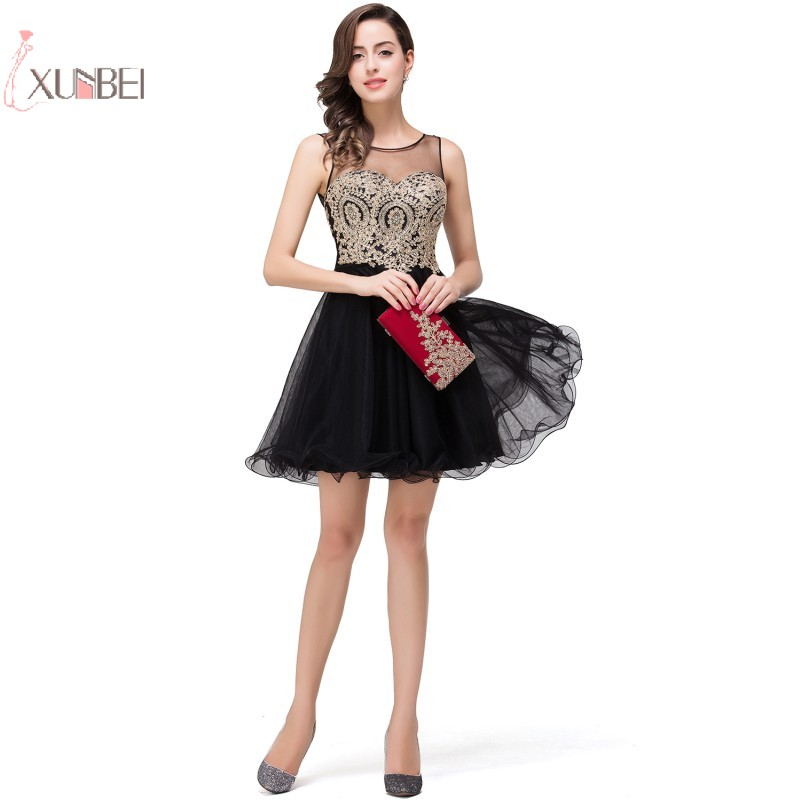2019 Sexy Tulle Elegant Short Prom Dresses A line Sleeveless Applique Prom Gown Gala Dress New
