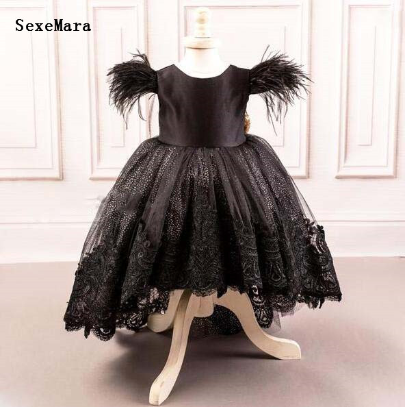 New Black Hi-Low Style Baby Girls Birthday Party Dress with Bow Puffy Tulle Lace Applique Sequins Kids Pageant Prom Gown