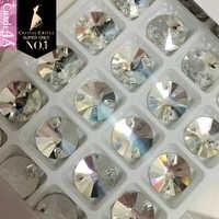 Castillo de cristal de vidrio de coser en 4A 3200 Rivoli round de estrás de Cristal AB artes artesanía y piedra para coser bricolaje diamantes de imitación para la ropa