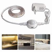 1M/2M/3M/4M/5M Under Cabinet Light Motion Sensor LED Strip Wardrobe Kitchen Lighting Closet Bedroom Lights Lamp lampe Waterproof
