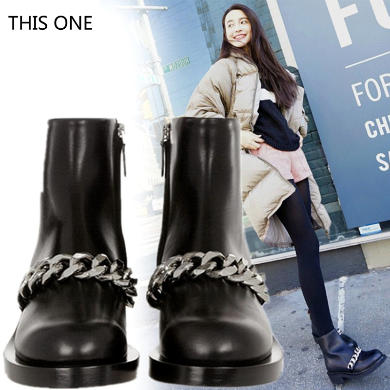 2018 Newest Chain Martin Boots Woman Round Toe Silver Gold Metal Chain Black Real Leather Short Boots Back Zipper Ankle Boots цена