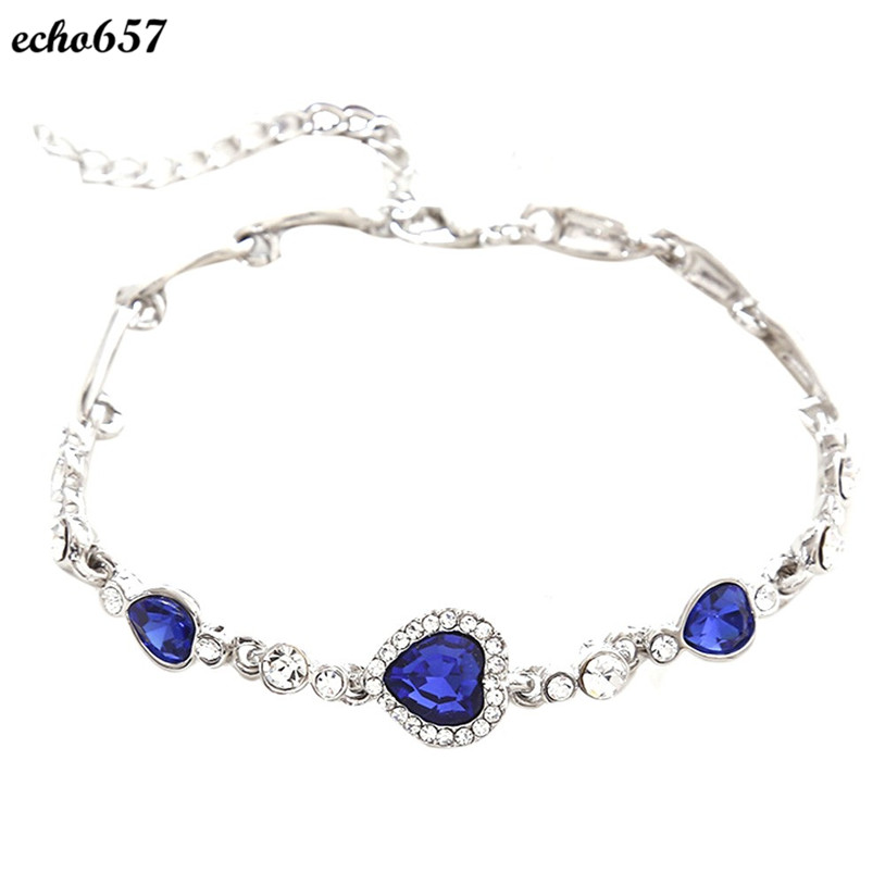 Echo657 Hot Sale Fashion Women Ocean Blue Crystal Rhinestone Heart font b Bangle b font font
