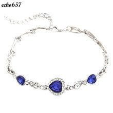 Echo657 Hot Sale Fashion Women Ocean Blue Crystal Rhinestone Heart Bangle Bracelet Oct 26