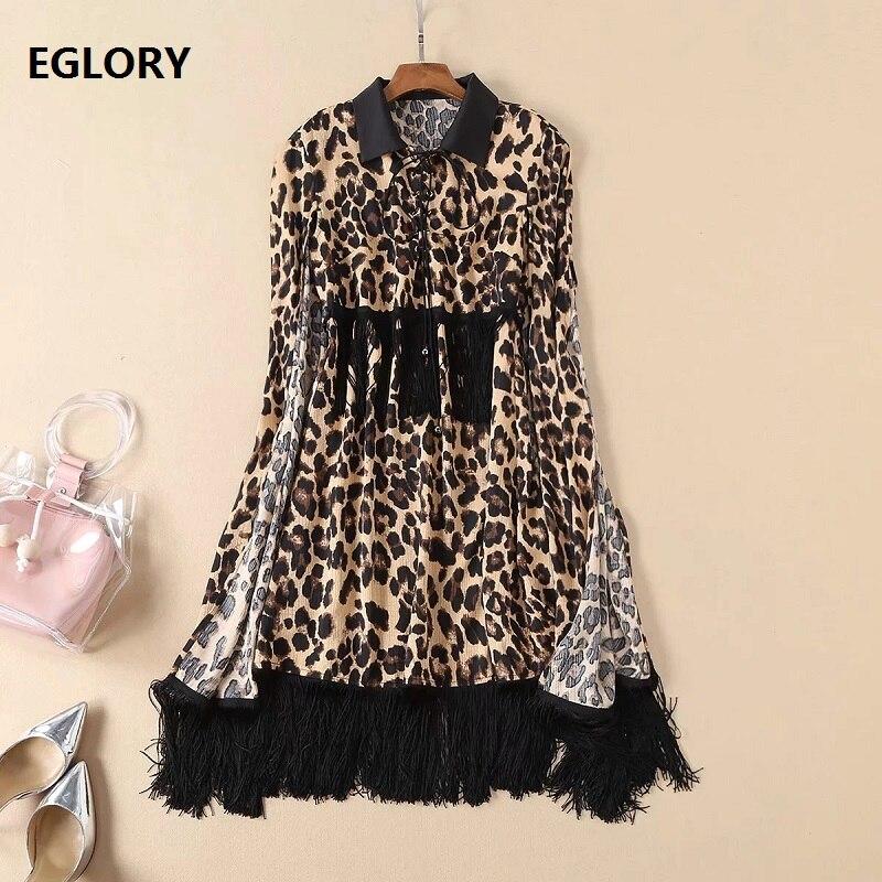704f5703c4b9 Chic Dress 2019 Spring Summer Leopard Print Dress Designer Clothing Women  Turn-down Collar Cape Poncho Style Party Club Dress