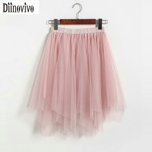 New 2017 Women Fashion Irregular Mesh Pleated Skirts Stretch Waist Female Princess Skirts Casual Mini skirt Saia Feminina 412