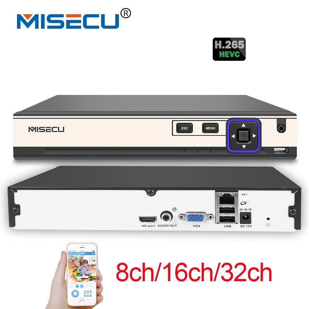 MISECU NEW H.265 5MP 8CH/16CH 1080P 32CH 2 SATA HDD Ports NVR XMEYE ONVIF P2P Motion Detection HDMI VGA CCTV Video Recorder
