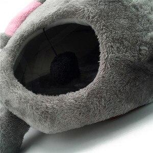 Image 3 - رمادي بيت قطة الماوس السرير المحمولة دافئ القط كهف السرير للإزالة أسفل مقاوم للماء لينة مناسبة كلب وسادة سرير للقطط البيت