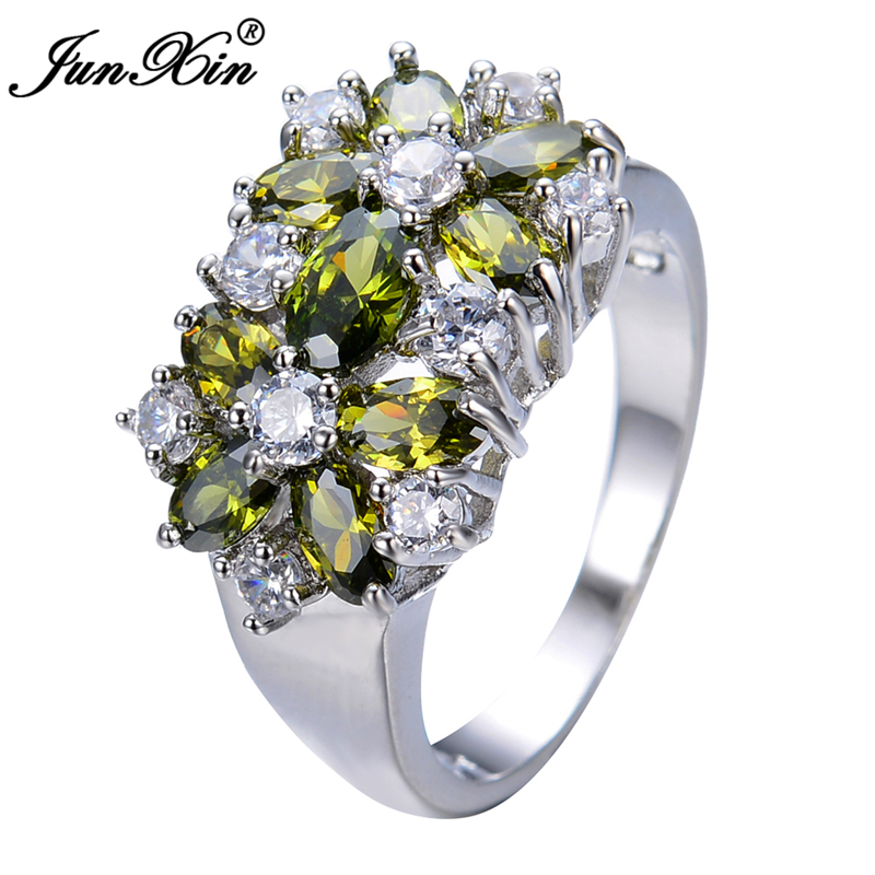junxin unique design peridot rings for and white