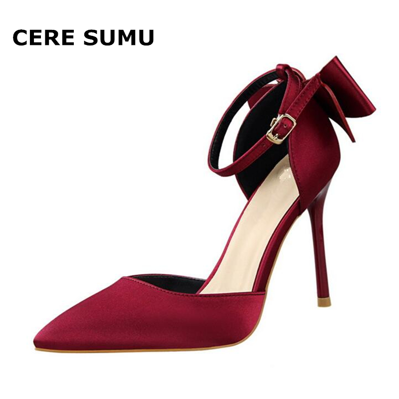 Hot 2018 Spring Autumn Women Pumps Sexy Thin High Heels Ankle Strap Fashion Pointed Toe Wedding Shoes Party Red Women Shoes цена