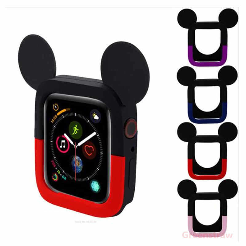 best sneakers e69d6 340f3 Cute Cartoon Mickey Mouse Ear Soft Silicone Protective Phone Case for Apple  Watch Series 4 Watch Cover 40mm 44mm WatchBand Case