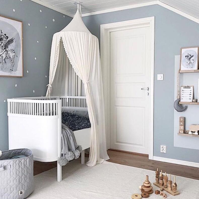Nordique INS coton bébé chambre décoration dentelle moustiquaire enfants lit rideau auvent rond berceau filet tente accessoires baldaquin 240 cm