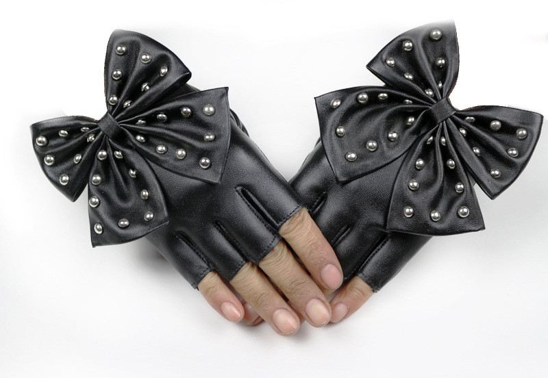 LongKeeper Women/'s Leather Gloves Black Fingerless Gloves PU Leather Big Bow