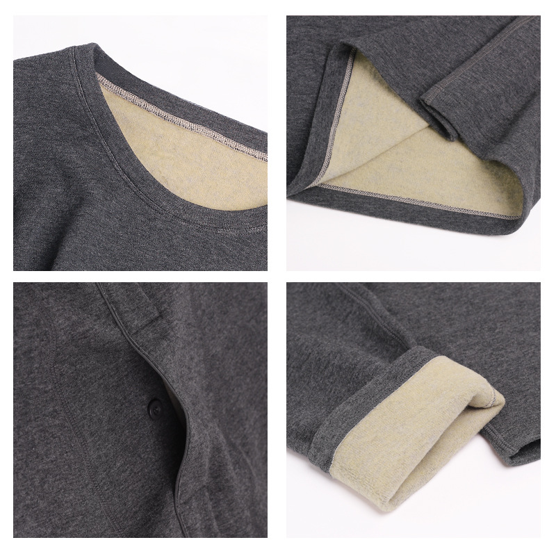 Velluto di seta Rotondo Del Collare Biancheria Intima Termica Vestito Per Gli Uomini Il tessuto interno 100% di Seta Più di Velluto E di Spessore Calzamaglia invernale, intimo termico set - 4
