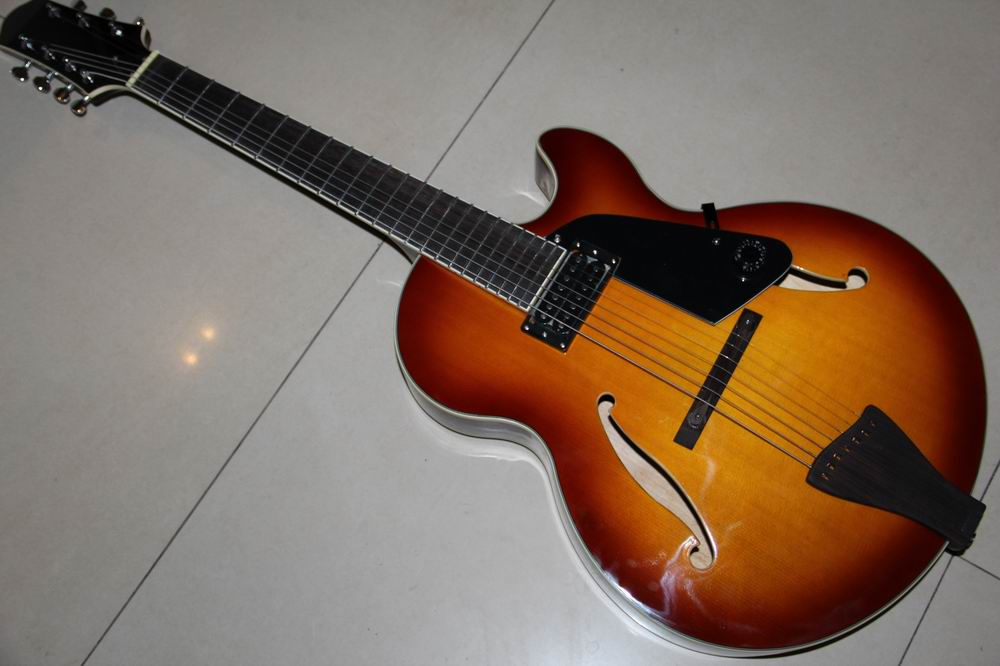 New Arrival 7 String Jazz electric (acoustic) guitar semi Hollow Body In Sunset 120930 brand new semi hollow body jazz electric guitar with double f hole p90 pickup and single cutway