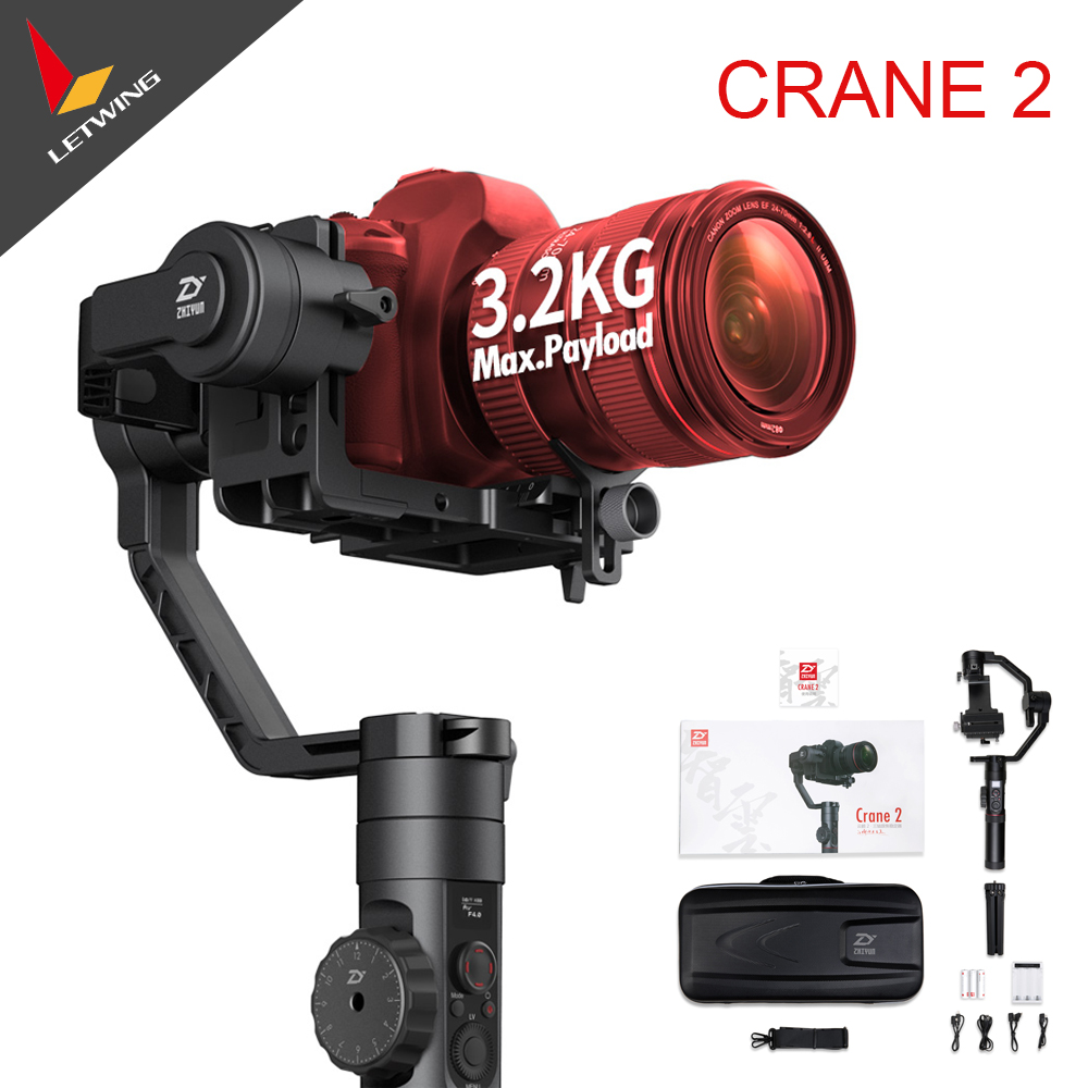 цена на In Stock Free DHL Fedex! Zhiyun Crane 2 New Stabilizer Gimbal for All DSLR Cameras with Follow Focus Tripod Camera Control Cable