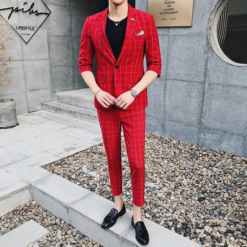 春と夏メンズスーツとフロントパンツウェディングスーツスーツ男性タキシードクラシック格子メンズスリムフィットスーツグリーン 7 色