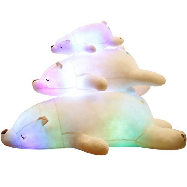 Colorful Flash LED Plush Toy Polar Bear Light-emitting Kids Doll Soft Animal Stuffed Pillow Cute Gift for Children Luminous Toys