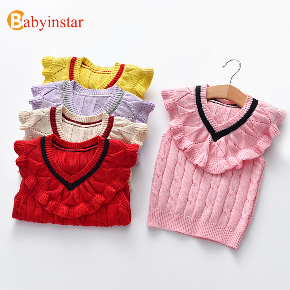все цены на Babyinstar Baby Girls Knit Vest 2018 New Arrival Sleeveless Lace V-neck Children Outfits Baby Costume Kids Waistcoat For 2-8Y онлайн