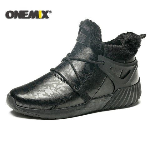 ONEMIX winter men running shoes men warm snow boots outdoor sport shoes women plush lining warm trekking shoes men sneakers men Multan