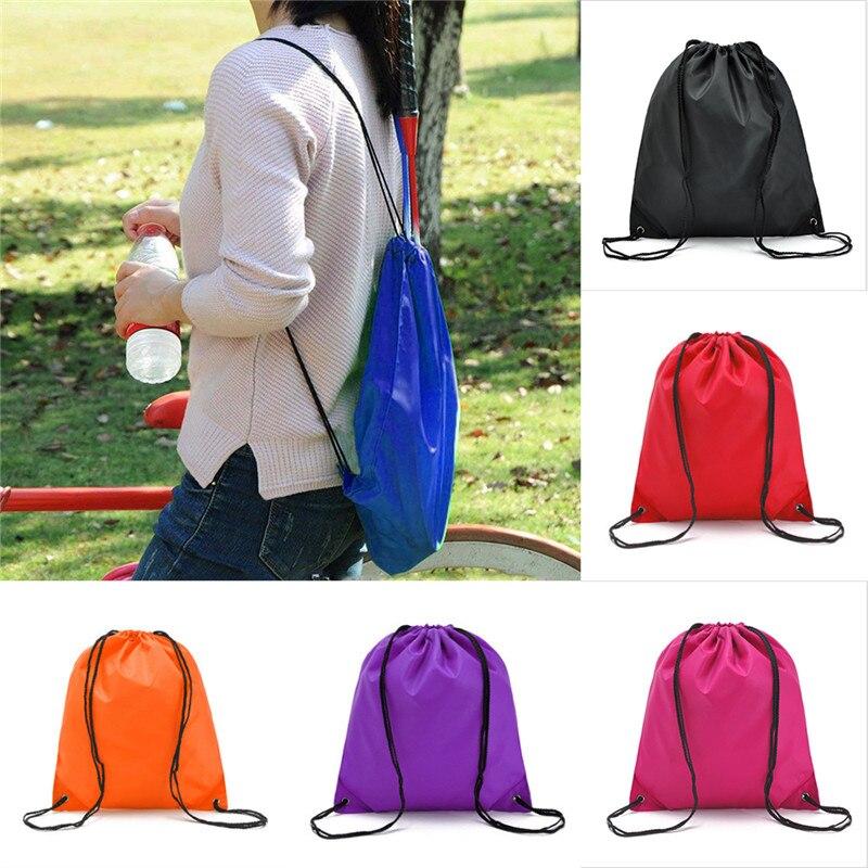 Унисекс Повседневная Водонепроницаемая пляжная сумка с Кулиской Oxford, портативный однотонный спортивный рюкзак большой вместимости для мужчин и женщин, сумка для хранения|Мешки с кулиской|   | АлиЭкспресс
