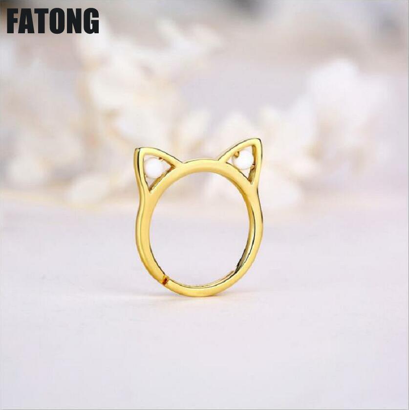 Bague oreilles de chat ajourées femmes agate naturelle noir et blanc 925 bague en argent sterling mode tendance chaud. J0107