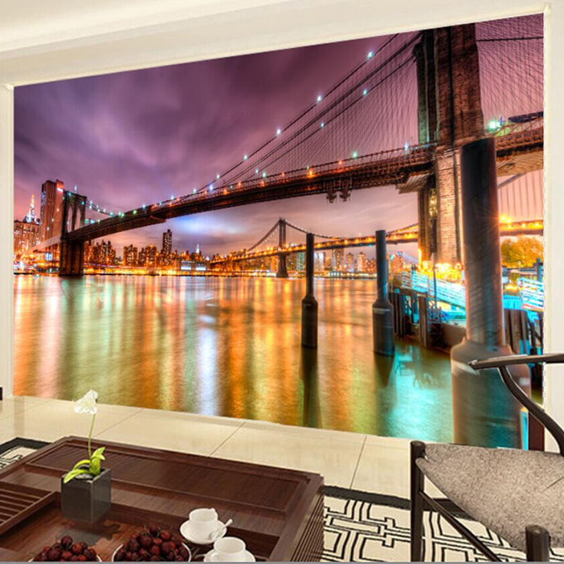 Modern city night landscape 3d wall mural wallpaper dining for 3d dining room wall art
