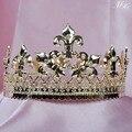 King Tiaras Coronas de Oro Plateado Alrededor Imperidal Medieval Austriaco Rhinestones Partido Pageant Art Deco de Cristal Para Los Hombres