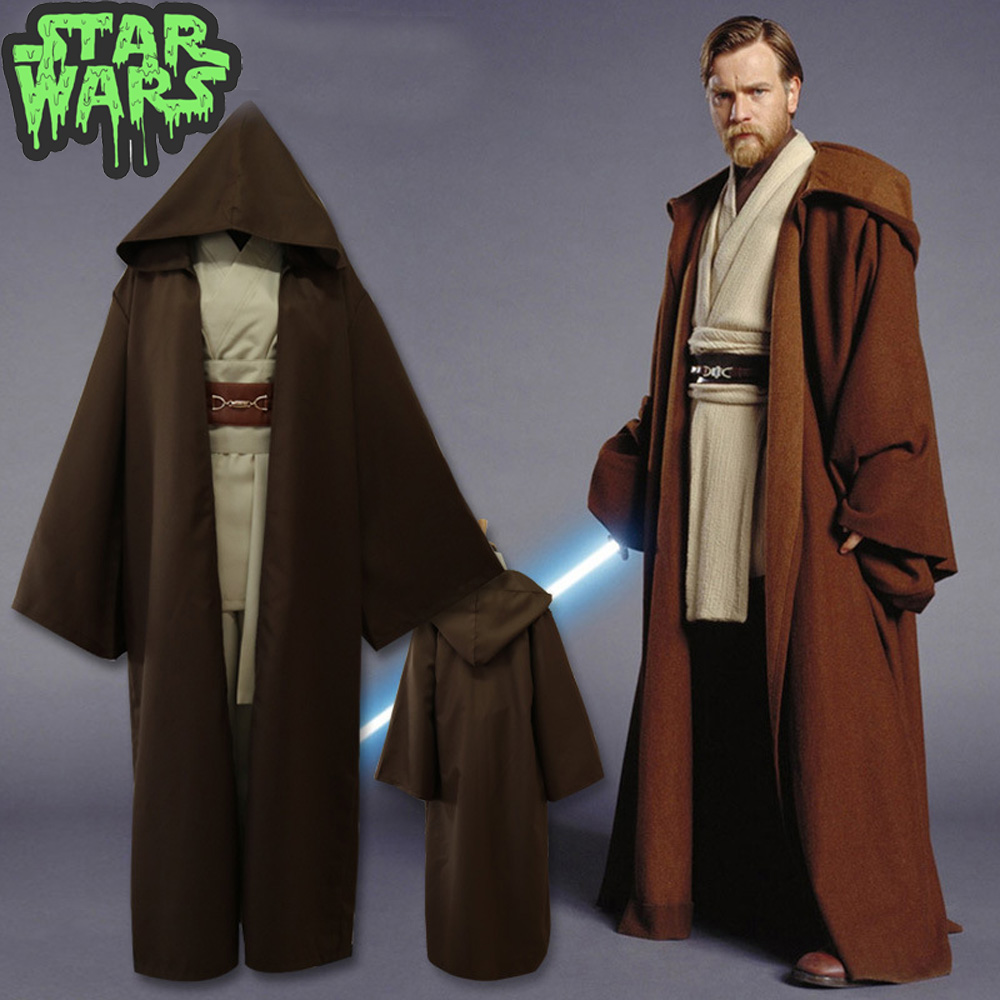 Star War Jedi Cosplay Costume Jedi Knight Obi- Wan Kenobi Darth Vader Mace Windu Tunic Robe Cosplay Costume For Halloween Prop