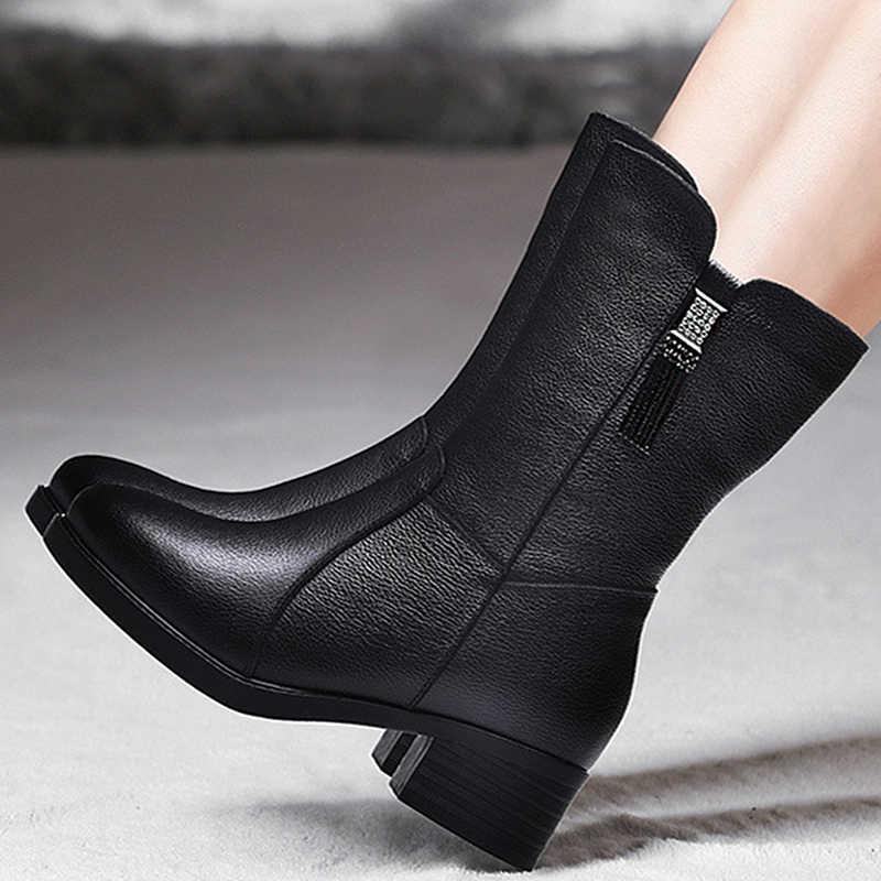 DONGNANFENG ผู้หญิงหญิงสุภาพสตรีแม่รองเท้าหนังแท้รองเท้าบูทกลางลูกวัวฤดูหนาว Plush ขนสัตว์ Warm Zipper Med Heel Bling BH-8783