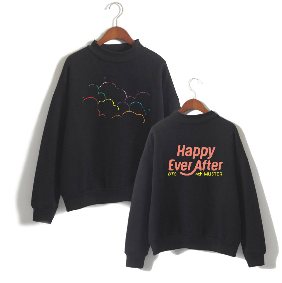 Kpop Style Hooded Sweater Men/women High Collar Long Sleeves Sweatshirt Loose Men Cool A ...