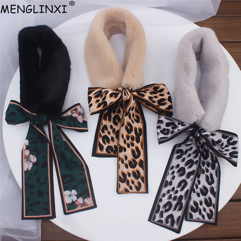 Fur Scarf 2020 New Leopard Print Scarf Women Winter Scarf Luxury Brand Skinny Silk Scarf Female Neckerchief Scarves & Wraps