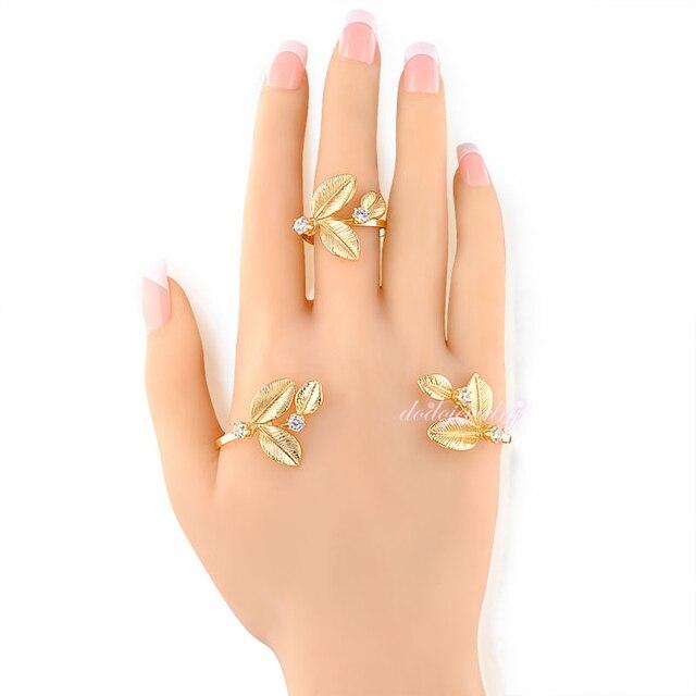 Lucky Leaf Palm Bracelet Wedding Palm Cuff Cubic Zirconia Hand Cuff Hot Fashion Jewelry Gift R27