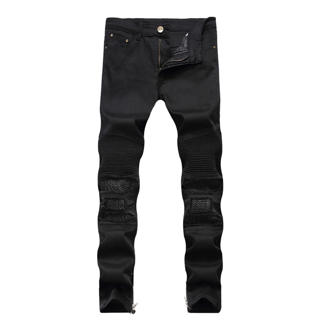 Men S Vintage Pleated Holes Ripped Biker Jeans For Motorcycle Patch Zipper Distressed Washed Denim Pants Dropshipping