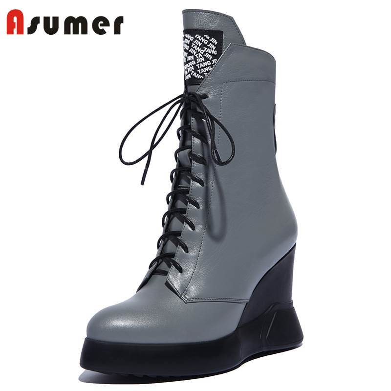 ASUMER SIZE 34-42 2018 fashion zipper genuine leather boots wedges platform ankle boots for women cross tied autumn bootsASUMER SIZE 34-42 2018 fashion zipper genuine leather boots wedges platform ankle boots for women cross tied autumn boots