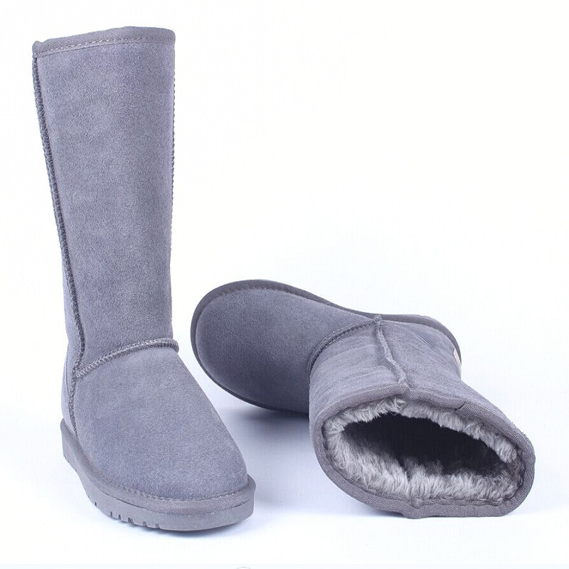 11.11 same price Fashion High Quality Brand Genuine Leather Fur Boots Warm Winter Snow Boots Feminina Bota Plus Size 5-13